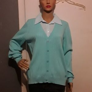 NWT- Izod sweater with built in pinstripe collar